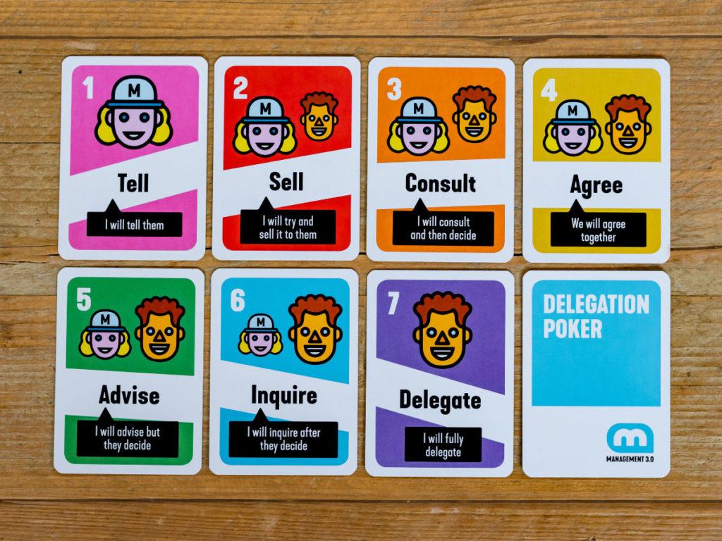 Delegálás játékosan - A hét Delegation Poker kártya: tell, sell, consult, agree, advise, inquire, delegate