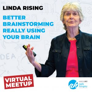 Sprint virtual meetup poster, Linda Rising on Budapest Agile Meetup